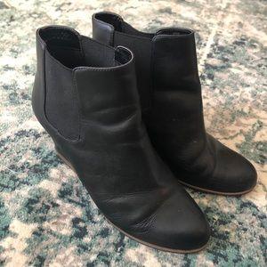Susina black wedge bootie